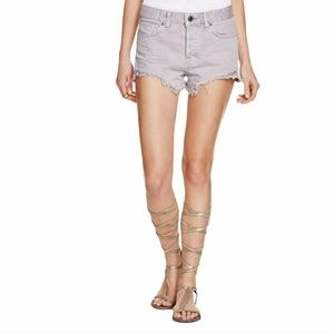 FREE PEOPLE CLOUDY GREY CUT OFF HIGH WAIST SHORTS